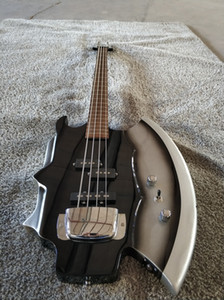 Axe four-string electric bass, shaped electric bass, black accessories, DIY, factory direct sales,spot on Sale