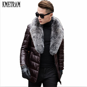 Wholesale KMETRAM Leather Down Cotton Men Genuine Leather With Real Fox Fur Mens Sheepskin Winter Jacket Men Black Parka HH507