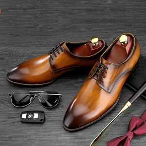 Wholesale New Brown Black tan Business Dress shoes Mens Social Shoes Genuine Leather Wedding Male Groom