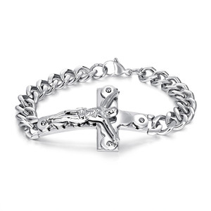 Crucifix Jesus Christ Cross Charm Men Bracelet Chain Curb Link Stainless Steel Gold Bangle Male 21cm Jewelry Gift GS972