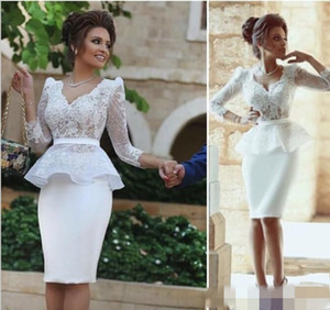 Nigerian Lace Styles Cocktail Dresses Party Prom Wear Long Sleeve V Neck Knee Length Peplum Sheath Lace Short Formal Gowns abiti da sposa on Sale
