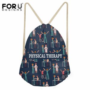 Wholesale FORUDESIGNS Physical Therapy Pattern Travel Drawstring Bag Women Daily Shoes Storage Bag Girls Fashion Girls String Backpack