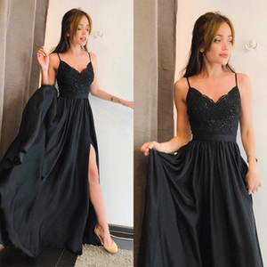 Simple Black Evening Dresses Straps Lace Summer Long Prom Dresses For Teens Petite Chiffon Robes formelles soirée party 2019 With Slit Gown on Sale