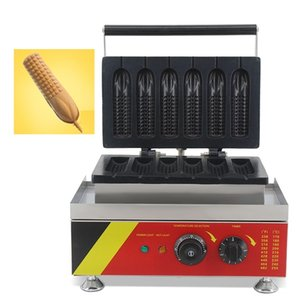 Stainless Steel 110V 220V 6pcs Mini French Corn Hog Dog Waffle Maker Commercial Electric Muffin Sausage Machine Waffel Baker Iron Equipment