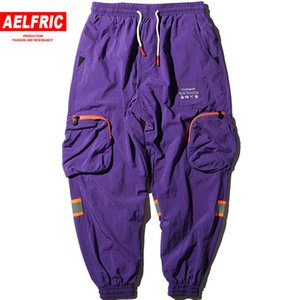 Wholesale Men Hip Hop Harem Pants Letter Embroidery Trousers High Street Harajuku Streetwear M Reflective Multi Pockets Sweatpants K8044