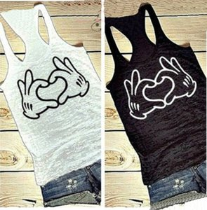 Wholesale women s fashion hands of love heart printed cotton sleeveless vest black white summer sport T shirt tank top