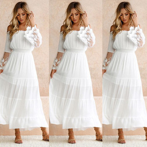 Wholesale Summer white lace dress Sundress Long Women Beach Dress Woman Strapless Long Sleeve Loose Sexy Off Shoulder Lace Boho Maxi Dress