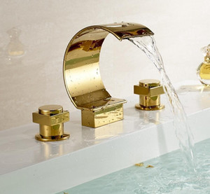 """Dual Handles Brass waterfall Square 3 Holes 8"""" widespread Bathroom Basin Sink Faucet Spout Mixer Tap Deck Mount"""