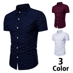 Men's Shirts Men Clothes Slim Fit Plaid Casual Designer Shirt Summer Chemise Homme Mens Checkered Shirts Short Sleeve Blouse on Sale