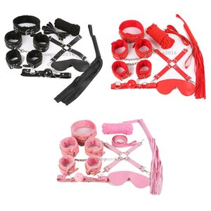 Wholesale sm gag mask resale online - 8Pcs Under Bed Restraint Kit Cuffs Collar Whip Gag Eye Mask Cotton Rope SM Toy G94