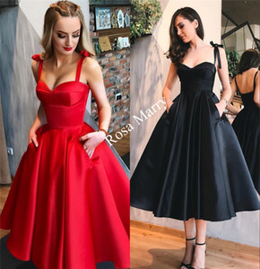 1950s Retro Red Black Prom Dresses 2020 A Line Tea Length Plus Size Cheap Satin Short Cocktail Evening Party Gowns with Pockets on Sale