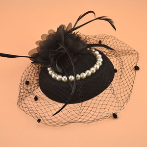 Wholesale Vintage Black Ladies Church Hats with Hairpins Pearls Beading Hand made Flowers Blue Red Ivory Yarn Bridal Wedding Hats Birdcage Veils