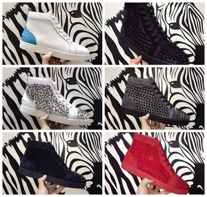 Wholesale Designers Shoe Red Bottom Luxury Shoes Fashion Brand Studded Spikes Flat Luxury Shoe Brand Fashion Luxury Designer Sneakers With Box