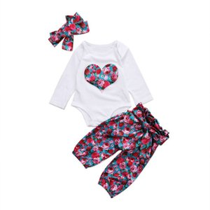 Wholesale Baby Clothing Newborn Kids Baby Girls Tops Love Heart Romper Floral Pants Headband Outfits Set Clothes
