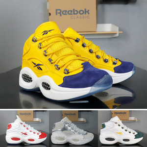 Wholesale Reebok basketball shoes Question JET LIFE for men top new mens high white red yellow Hexalite cushion breathable trainers size