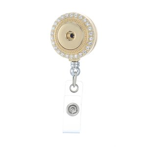Wholesale Legenstar Trendy Retractable Badge Reel ID Holder with white Crystal Round Zinc Alloy Pendant Jewelry fit mm Charm Snap Button