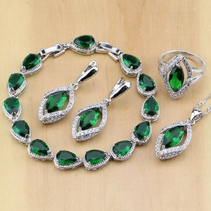 Rhombic Green Created Emerald White CZ 925 Sterling Silver Jewelry Sets For Women Earrings Pendant Necklace Rings Bracelet