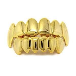 Wholesale New Hip Hop Gold Teeth Grillz Top Bottom Dental Grills Mouth Punk Teeth Caps Cosplay Party Tooth Rapper Jewelry Set
