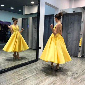 Cheap tea length Prom Dresses 2019 Robe De Mariee Sirene Sexy V Neck Yellow criss cross spaghetti straps Summer Prom Evening Party Gowns on Sale