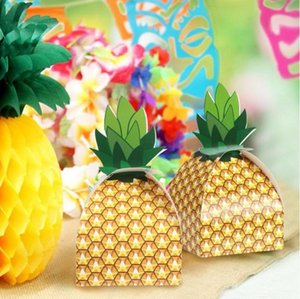 Wholesale Yellow Wedding Candy Box Creative DIY carton personality pineapple candy box Gift Wedding Party favors Supplies