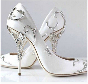 Wholesale Ralph Russo Bridal Shoes Real leather Top Hot New Ornate Filigree Leaf Womens Dress Evening Party Pumps Girl Sexy Euro
