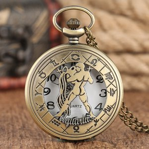 Wholesale Aquarius Stronge Man Pattern Hollow Cover Vintage Style Bronze Quartz Pocket Watch with Necklace Chain Gift for Male Female