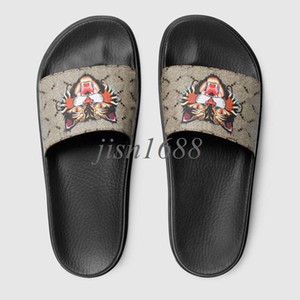 2018 mens fashion angry cat printing leather rubber slide sandals with thick Molded footbed box and dust bags
