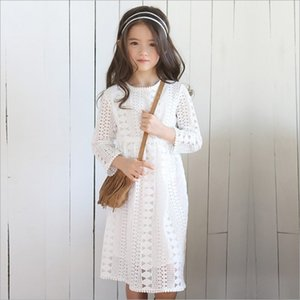 Wholesale Girls Dress Christmas Kids Clothing Spring Lace Tutu Dress Korean Fashion Long Sleeve Hollow ourt Princess Dress ER