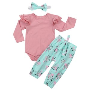 Cute baby girl flower clothing romper+pants+headband 3 piece set outfit ruffles long sleeve bowknot pink blue clothes wholesale boutique