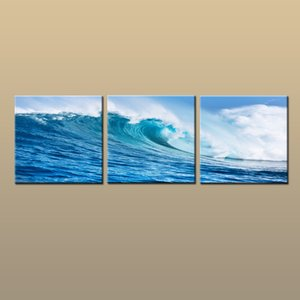 Wholesale Framed Unframed Hot Modern Contemporary Canvas Wall Art Print Blue Seascape Wave oil painting Picture piece Living Room Home Decor abc261