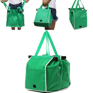 Wholesale New Non Woven Supermarket Shopping Bag Clip to Cart Grocery Bag Foldable Reusable Storage Bag Large Capacity Bags WX9