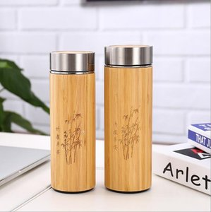 Wholesale Bamboo Stainless Steel Water Bottle Vacuum Insulated Coffee Travel Vacuum Cup With Tea Infuser Strainer ML Wooden Bottle Drinkware