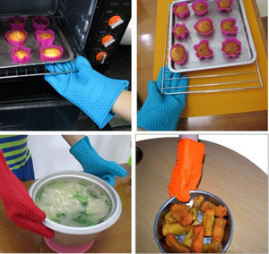 Wholesale Housekeeping 27*14.5cm Silicone BBQ Gloves Anti Slip Heat Resistant Microwave Oven Pot Baking Cooking Kitchen Tool Five Fingers Gloves