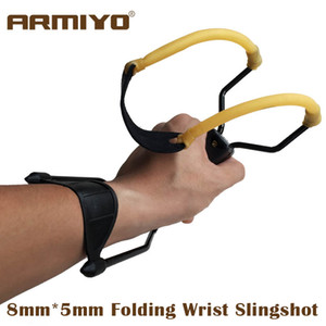 Armiyo Powerful Hunting Fishing Folding Wrist Slingshot Target Shooting With Rubber Band Leather Catapult Paintball Arrows Bow