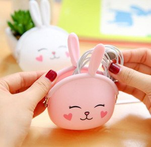 Wholesale korean bunny girl for sale - Group buy Cute girl coin purse jelly bag mini silicone bag lady pocket kids key cases Wallets Holders Cartoon silicone purse Korean style bunny bags
