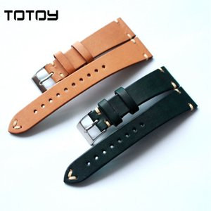 Wholesale TOTOY Soft Leather Watchbands Matte MM MM for Labor Vintage Style COW Italian Cow Watchbands