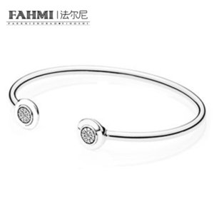 FAHMI Authentic 925 Sterling Silver Bangle Signature With Crystal Open Bracelet Bangle Fit Style Bead Charm DIY Jewelry 590528CZ