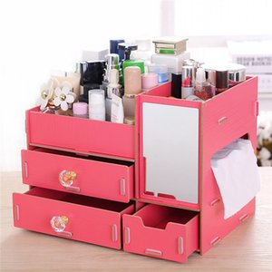 1pc Wooden Cosmetics Makeup Storage Tissue Box Wood Organizer Jewelry Case with mirror Gifts for Lady Girl
