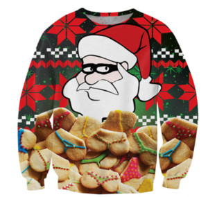 Wholesale New Arrival Santa Have Many Sexy Underwear Biscuits Men Women Funny D Printed Sweatshirt Style Fashion Casual Sweatshirt B363