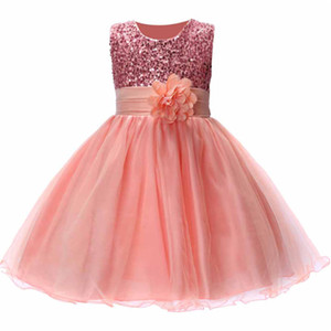 Wholesale Summer Christmas Cute Flower Girls Dress with Sequins Mesh Girl Clothes Without Sleeves Dresses Princesses Girl Costume
