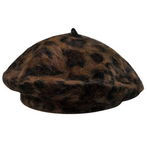 Wholesale Elegant Leopard Warm Wool Spring Autumn Winter Beret Women French Artist Beanie Beret Hat For Women Hat