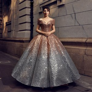 Wholesale Vintage Royal Lady Colorful Bateau Wedding Dress 6 Kinds Gradual Change Colors Sequin Bling Dresses Bridal Wedding Party Gown Dress D31