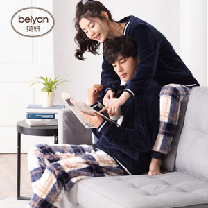 Wholesale BeiYan winter coral fleece couples are warm household contracted male flannel pajamas cute woman suits