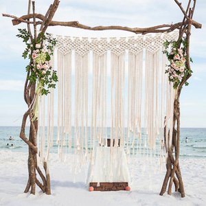 Boho Decorations for Wedding Party Photo Booth Backdrop Cotton Rope Macrame Wall Hanging Bohemian Tassel Curtain for Home Room 115x100 cm