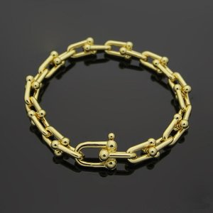 Wholesale Famous Brand Bracelets L Stainless Steel K Gold U Chain Bracelet Rose Gold Silver T letter Couple Bracelets Women Men Fashion Jewelry