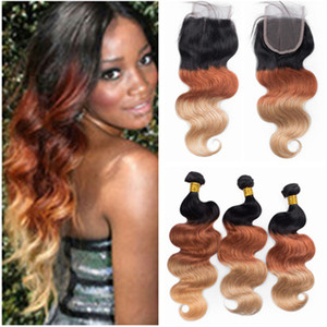 Wholesale 1b 33 ombre brazilian hair resale online - Body Wave B Honey Blonde Ombre Virgin Hair Weaves with x4 Lace Closure Three Tone Colored Brazilian Human Hair Bundles