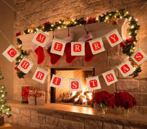 Wholesale DHL DIY Christmas Flags Merry Christmas Bunting Sign Vintage Jute Garland Celebration Banner Handmade Burlap Bunting flags Xmas NT