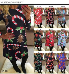 Wholesale 26 style Fashion Women design Dress Long Sleeve Santa Claus Dresses Gift Christmas Xmas Flared Dress for Women girls swing Casual Mini Dress