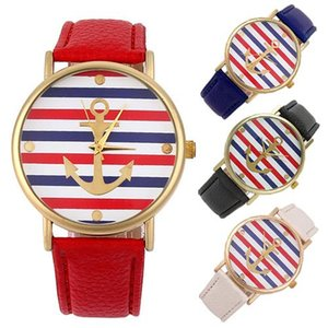 Wholesale New Unisex Navy Multi Color Striped Anchor Faux Leather Analog Strap Wrist Watch
