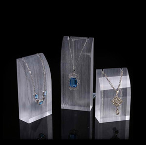 Acrylic Jewelry Necklace Display Stand Prop Delicate for Boutique Shop Counter Shelf Pendant Charm Necklaces Exhibition Holder Set of 3